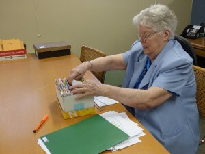 Sister Ruth working in the classroom
