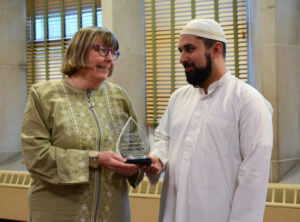 Sister Barbara Finch received a Humanity Day award from the Islamic Center of Pittsburgh.