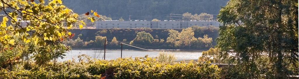 Beaver County Jail as seen from across the Ohio River on the Sisters of St. Joseph grounds in Baden, PA.