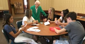 Sister Silveria welcomes high school students to the Motherhouse