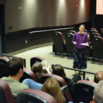 "Sister Kari Pohl speaks about the death penalty before a screening of ""Just Mercy"" at the Tull Family Theater in Sewickley"