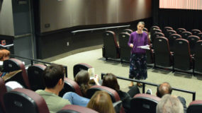 """Sister Kari Pohl speaks about the death penalty before a screening of """"Just Mercy"""" at the Tull Family Theater in Sewickley"""