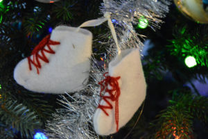Felt ice skate ornament