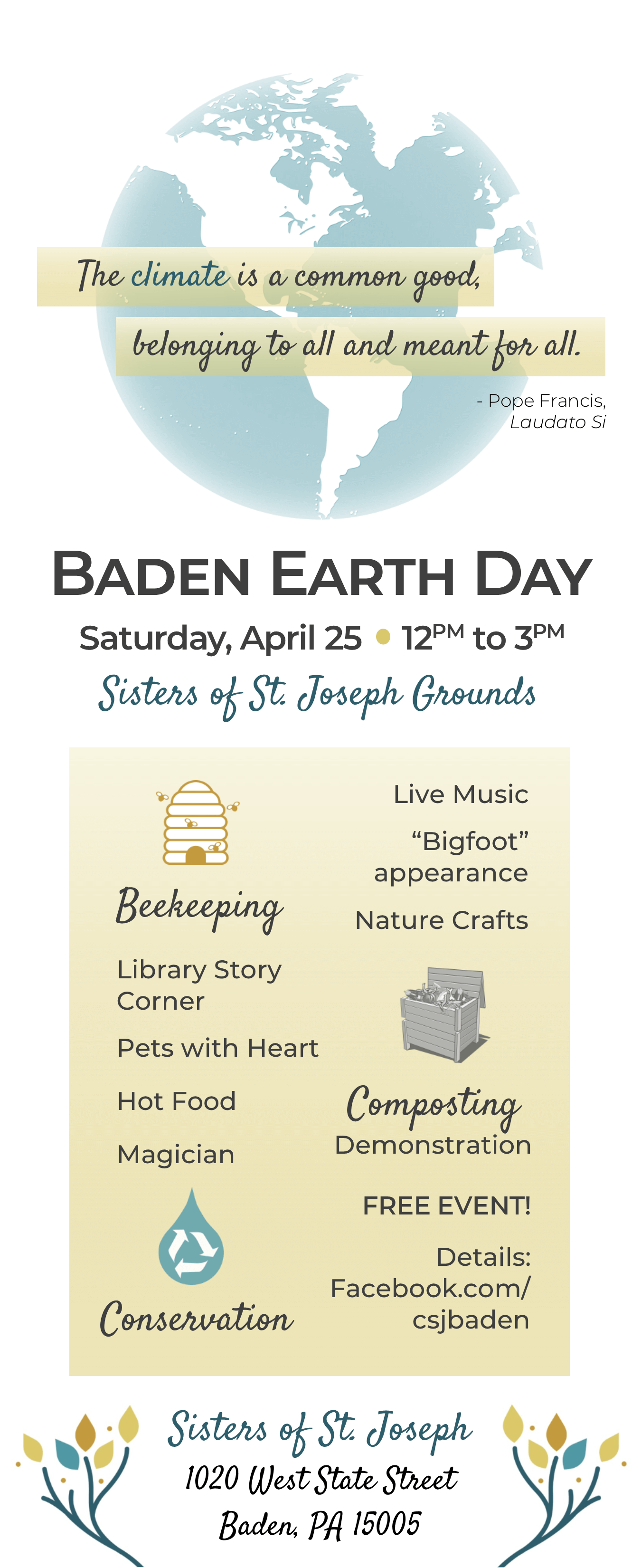 Baden Earth Day 2020 @ Sisters of St. Joseph