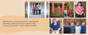 Talking pandemic from our porches: Refletions on finding hope in unexpected blessings, embracing new routines and staying connected - spiritually & socially. Click to watch COVID-19 Conversation videos.
